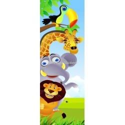 Sticker de porte enfant Animaux de la jungle