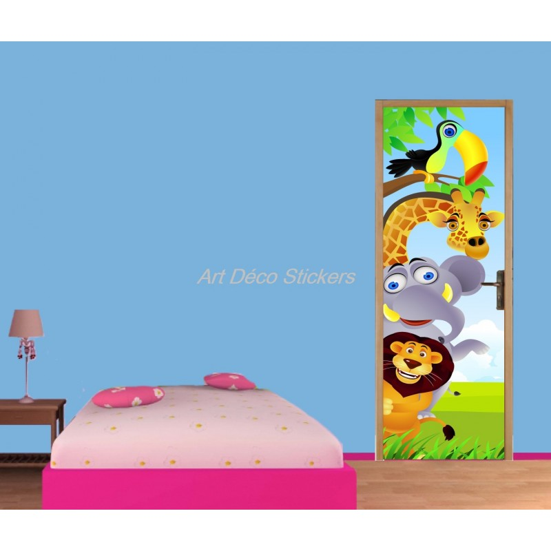Sticker de porte enfant animaux de la jungle art d co for Stickers pour porte de chambre