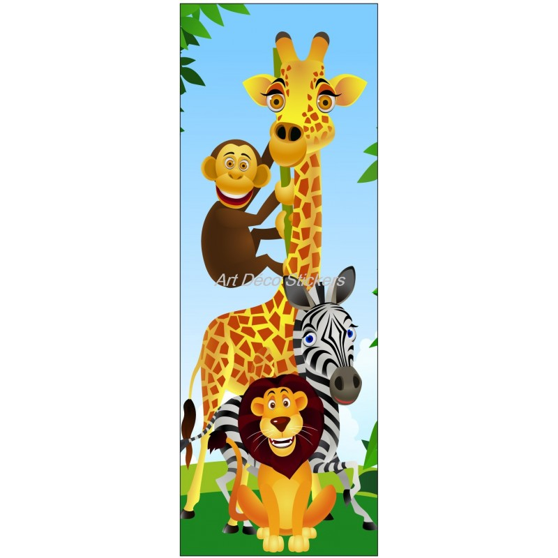 Sticker de porte enfant Animaux de la jungle - Art Déco Stickers
