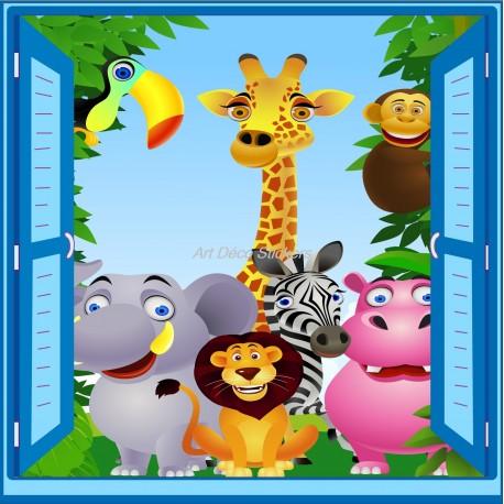 Sticker enfant fen tre trompe l 39 oeil animaux de la jungle art d co stickers - Decoration animaux de la jungle ...