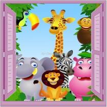 Sticker enfant fenêtre trompe l'oeil animaux de la jungle