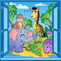 Sticker enfant fenêtre trompe l'oeil animaux