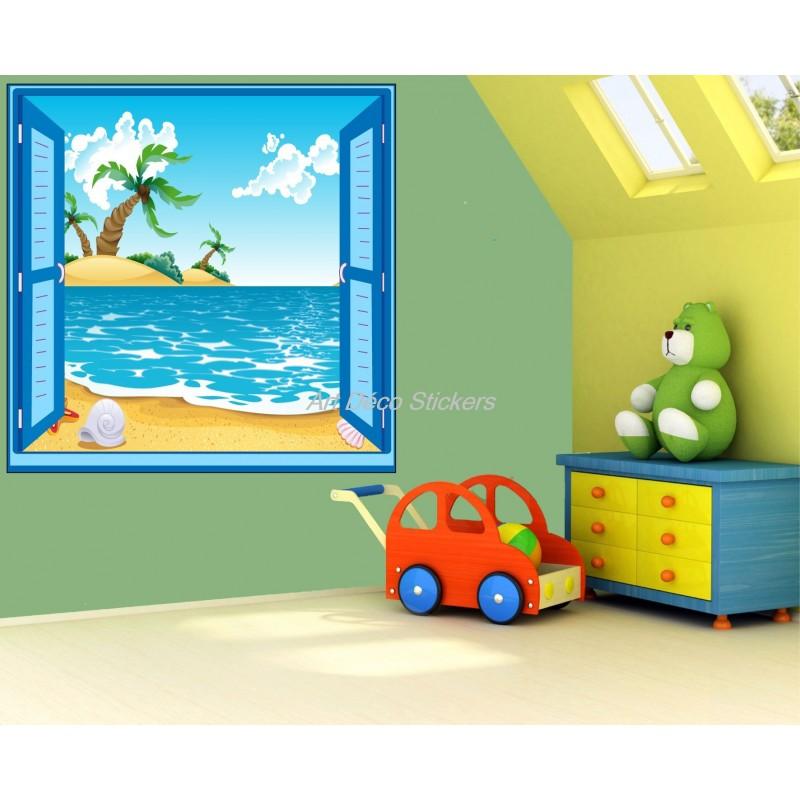 Sticker enfant fenêtre trompe l/'oeil plage palmier 909