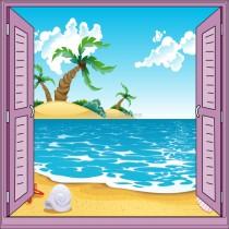Sticker enfant fenêtre trompe l'oeil plage palmier