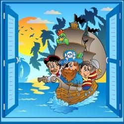 Sticker enfant fenêtre trompe l'oeil Bateau pirates
