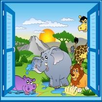 Sticker enfant fenêtre trompe l'oeil animaux safari