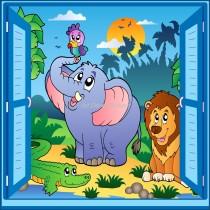 Sticker enfant fenêtre trompe l'oeil éléphant lion perroquet
