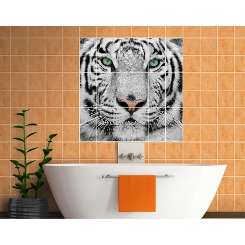 stickers carrelage mural d co tigre art d co stickers. Black Bedroom Furniture Sets. Home Design Ideas