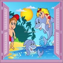 Sticker enfant fenêtre trompe l'oeil Enfants Dauphin