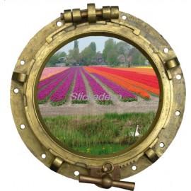 sticker hublot trompe l'oeil Champ de Fleur