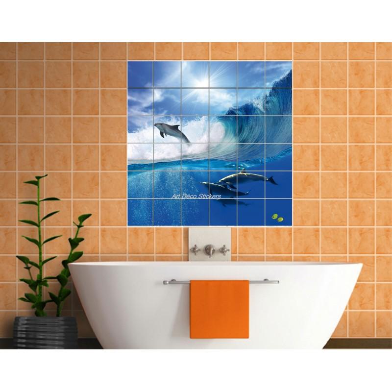 Sticker carrelage mural d co dauphins art d co stickers for Stickers pour carrelage mural cuisine