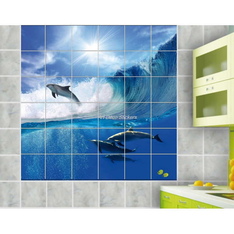Sticker carrelage mural d co dauphins art d co stickers for Deco salle de bain carrelage mural