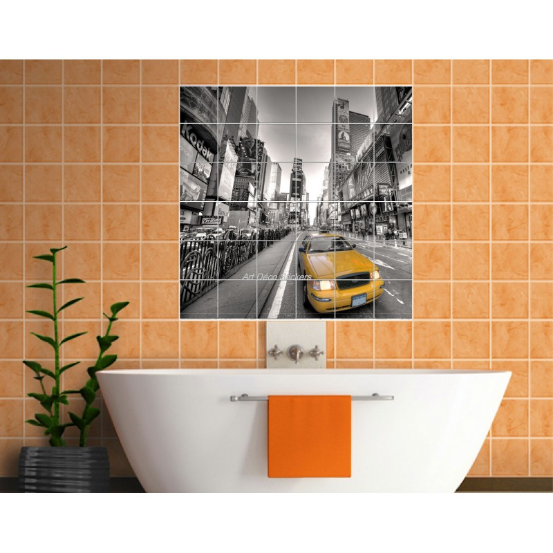 Sticker carrelage mural d co new york taxi r f 834 art for Carrelage york