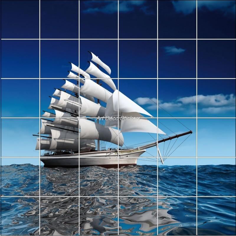 Sticker carrelage mural d co bateau art d co stickers for Salle de bain de bateau