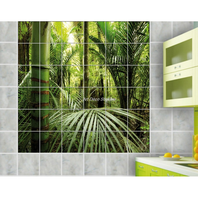 Stickers carrelage mural d co bambous art d co stickers for Deco salle de bain carrelage mural