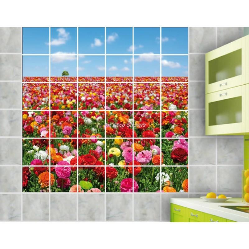 stickers carrelage mural d co champs de fleurs art d co stickers. Black Bedroom Furniture Sets. Home Design Ideas