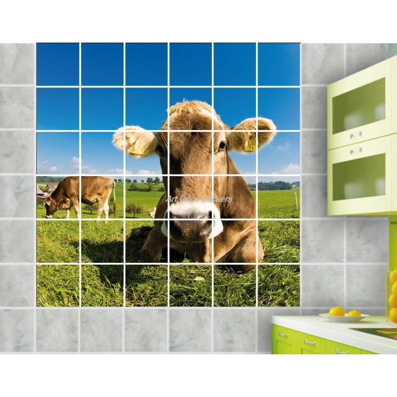 stickers carrelage mural d co vache art d co stickers. Black Bedroom Furniture Sets. Home Design Ideas