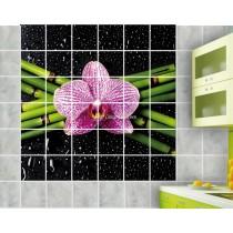 Stickers carrelage mural déco Bambous fleur
