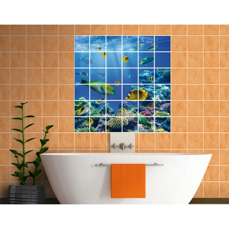 Stickers carrelage mural d co poissons art d co stickers for Carrelage ecaille poisson