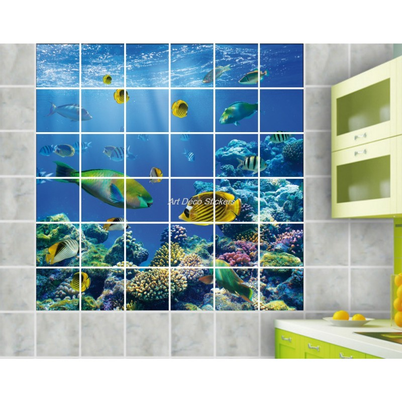 stickers carrelage mural d co poissons art d co stickers. Black Bedroom Furniture Sets. Home Design Ideas