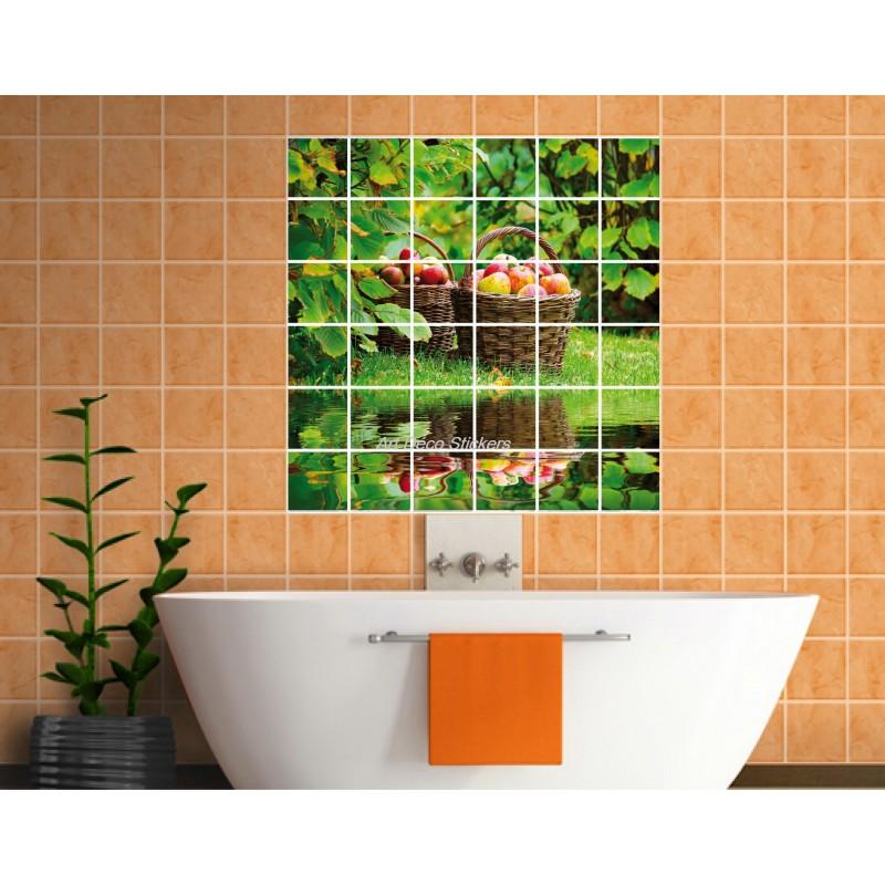 stickers carrelage mural d co panier de fruits art d co stickers. Black Bedroom Furniture Sets. Home Design Ideas