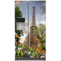 Sticker frigo américain électroménager déco cuisine Tour Eiffel