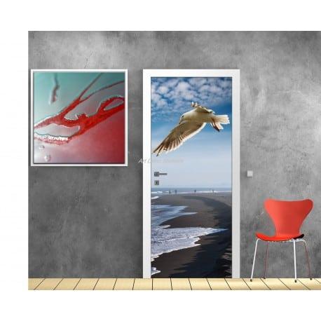 Poster format porte trompe l 39 oeil mouette art d co stickers - Poster trompe l oeil pour porte ...