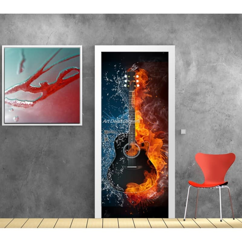 affiche poster pour porte trompe l 39 oeil guitare art d co stickers. Black Bedroom Furniture Sets. Home Design Ideas