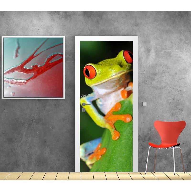 affiche poster pour porte trompe l 39 oeil grenouille art d co stickers. Black Bedroom Furniture Sets. Home Design Ideas