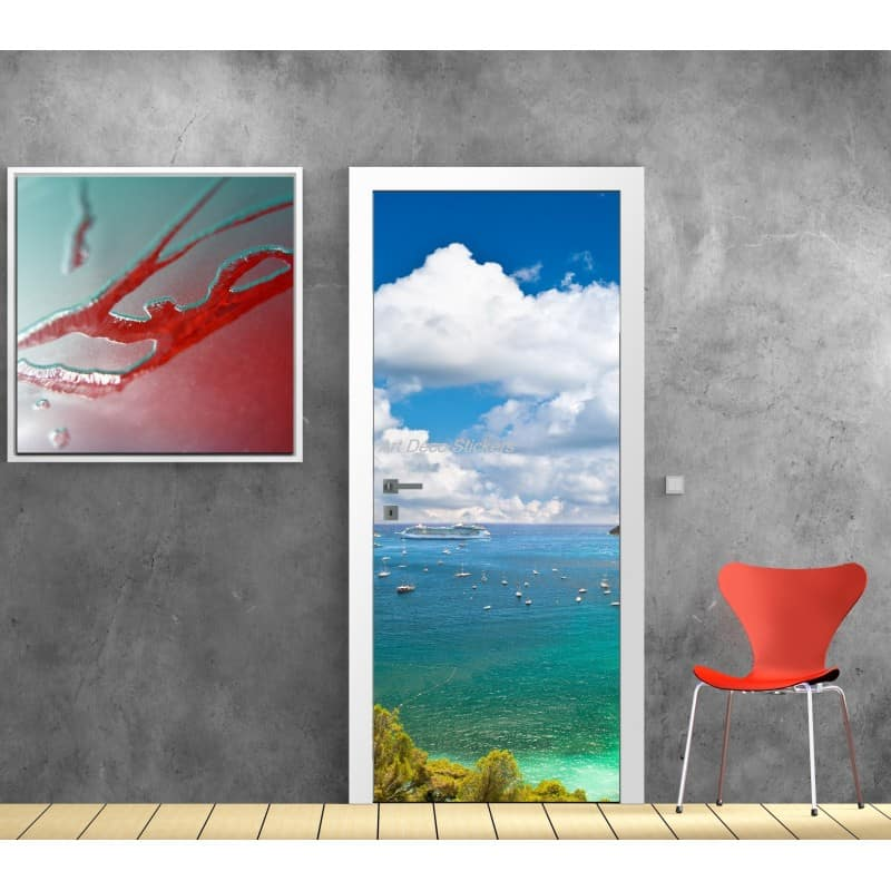 affiche poster pour porte trompe l 39 oeil mer bateau art d co stickers. Black Bedroom Furniture Sets. Home Design Ideas