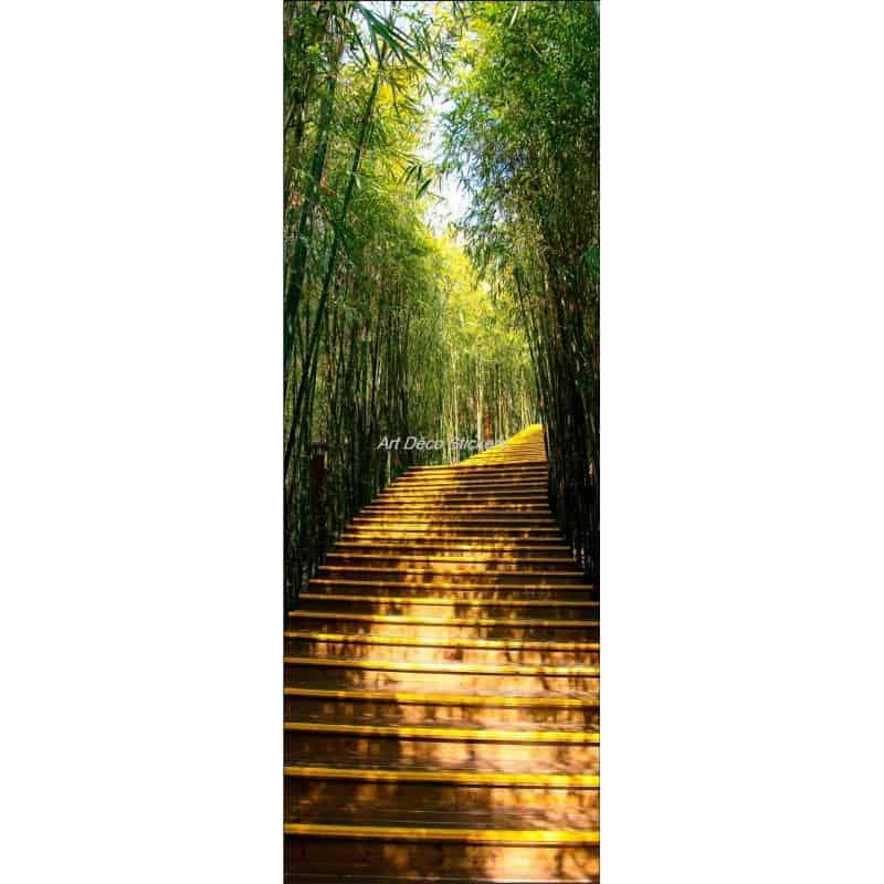 Affiche poster pour porte trompe l 39 oeil chemin bambous for Trompe l oeil pour porte