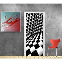Affiche poster pour porte trompe l'oeil Damier