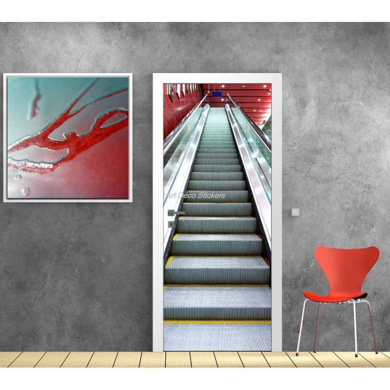 affiche poster pour porte trompe l 39 oeil escalator art d co stickers. Black Bedroom Furniture Sets. Home Design Ideas