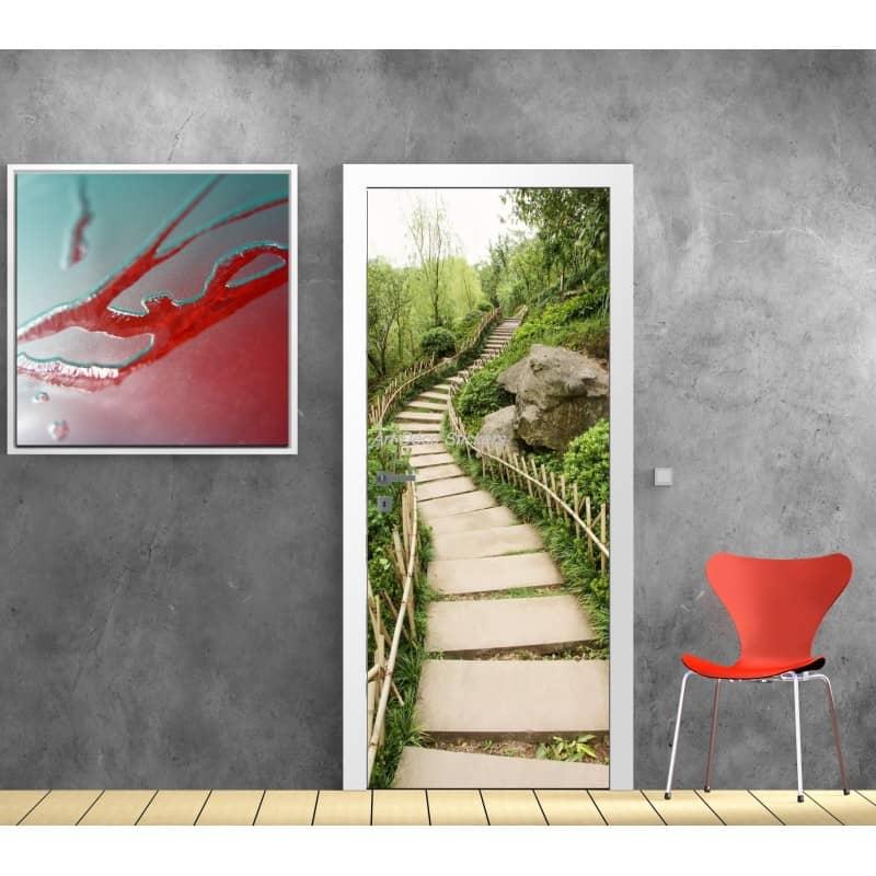 affiche poster pour porte trompe l 39 oeil chemin pierre art d co stickers. Black Bedroom Furniture Sets. Home Design Ideas