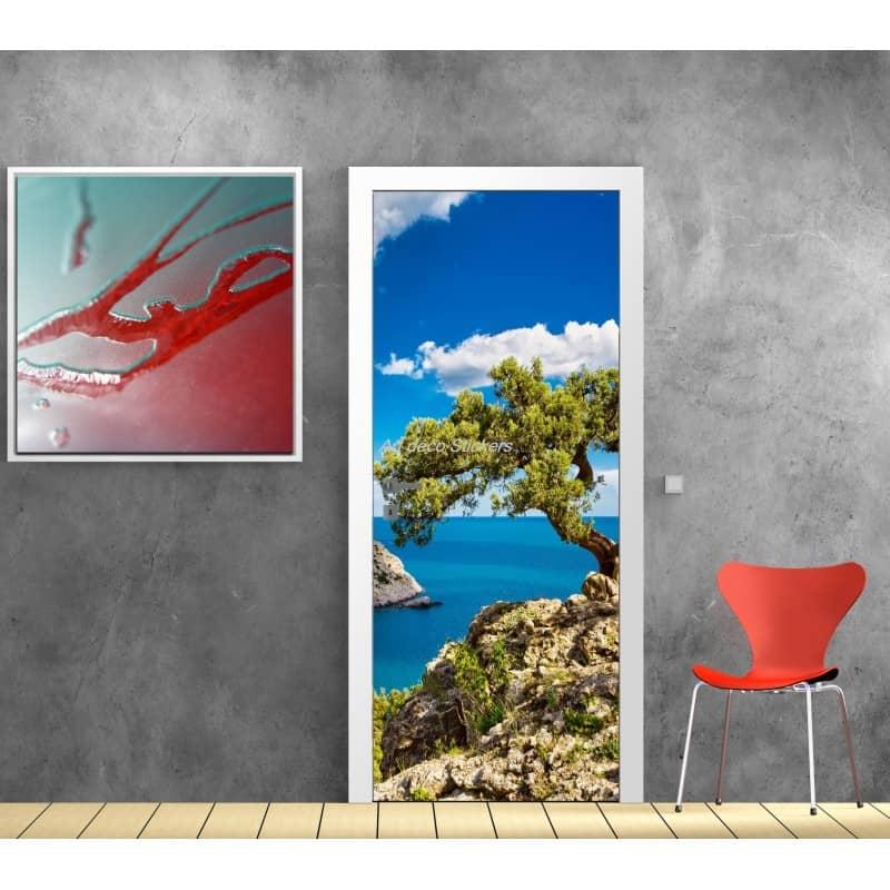 affiche poster pour porte trompe l 39 oeil belle vue art d co stickers. Black Bedroom Furniture Sets. Home Design Ideas