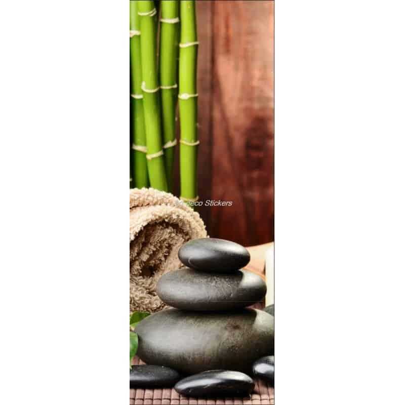 affiche poster pour porte trompe l 39 oeil galets bambous art d co stickers. Black Bedroom Furniture Sets. Home Design Ideas