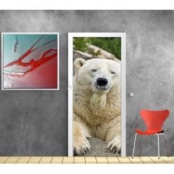 Affiche poster pour porte trompe l'oeil Ours polaire