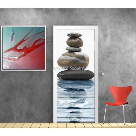 Affiche poster pour porte trompe l 39 oeil galet art d co stickers - Poster trompe l oeil pour porte ...