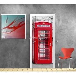 Affiche poster pour porte trompe l'oeil Cabine téléphonique anglaise