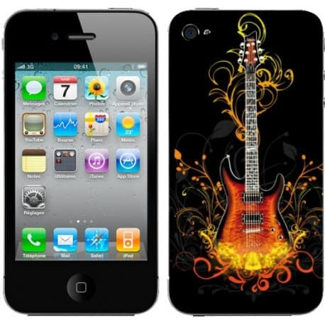 Sticker Autocollant Iphone4 Guitare