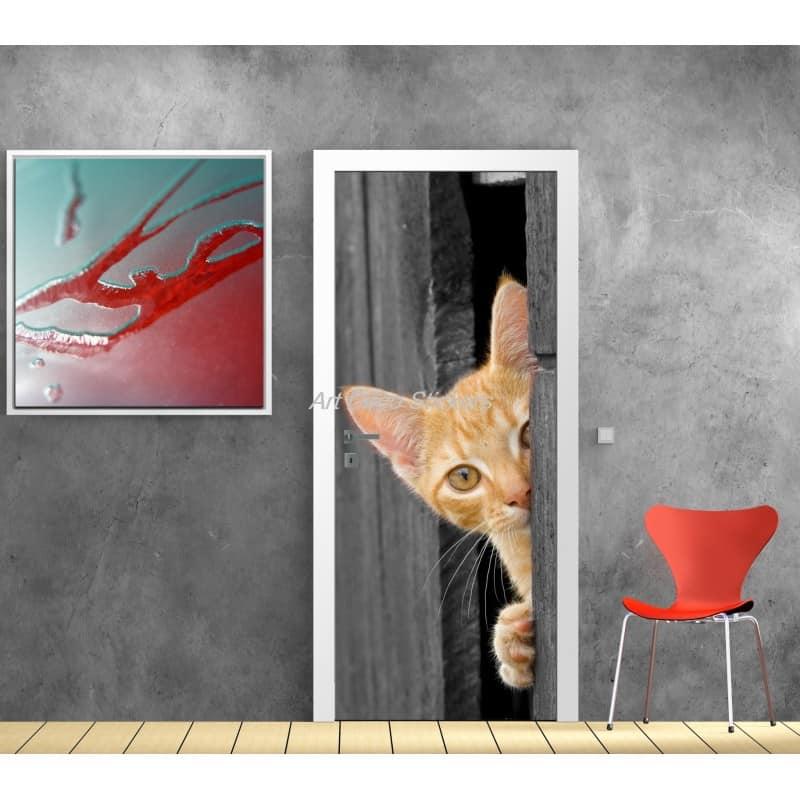 Affiche poster pour porte trompe l 39 oeil chat art d co stickers - Trompe l oeil pour porte ...