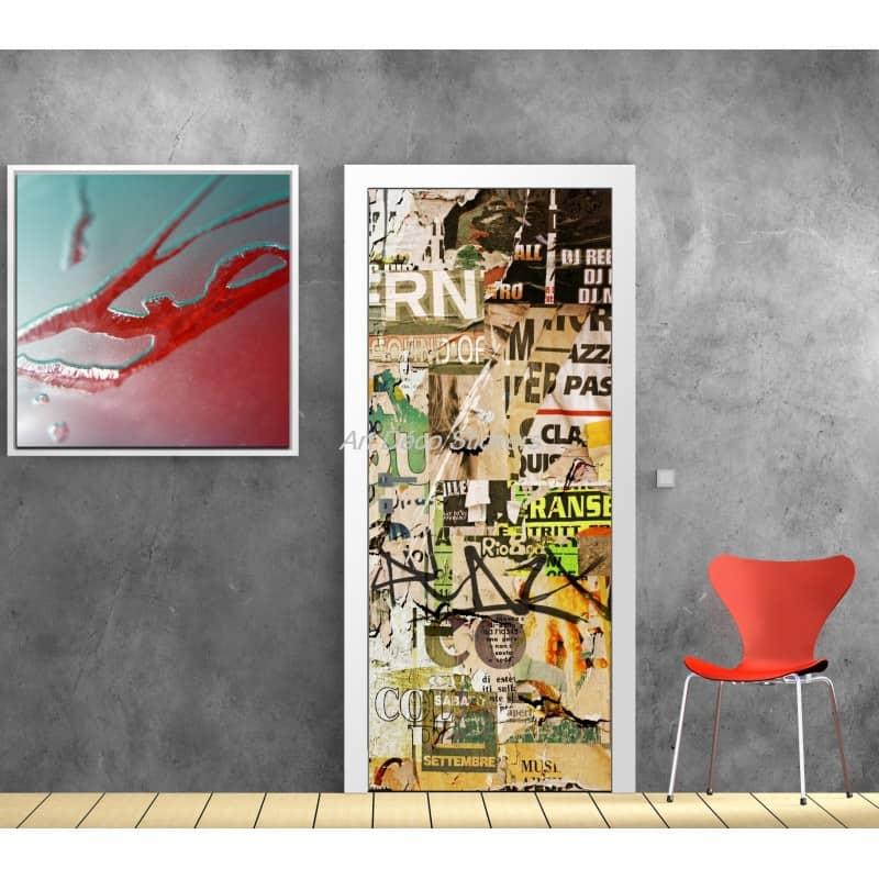 affiche poster pour porte trompe l 39 oeil graphiti tag art d co stickers. Black Bedroom Furniture Sets. Home Design Ideas