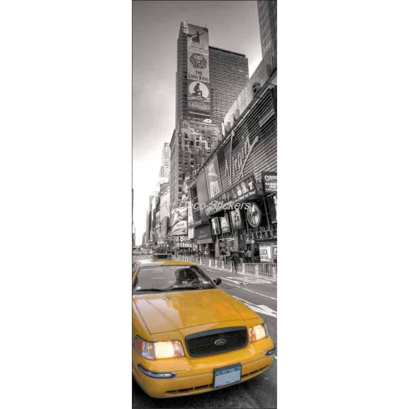 Affiche poster pour porte trompe l 39 oeil new york taxi art d co stickers - Poster trompe l oeil pour porte ...
