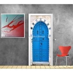 Affiche poster de porte trompe l'oeil Porte orientale bleu