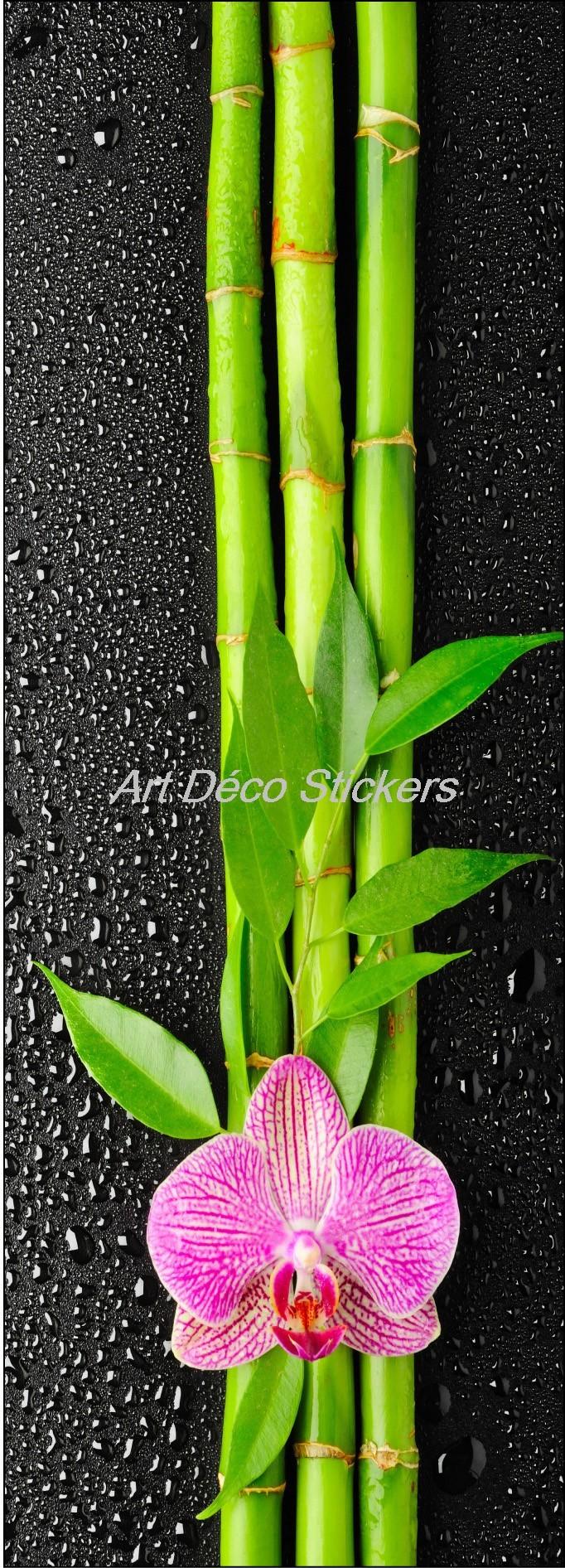 Papier peint pour porte trompe l/'oeil déco Fleur Bambous réf 529