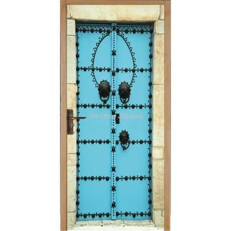 Affiche poster de porte trompe l 39 oeil porte orientale bleu art d co stickers - Stickers trompe l oeil pour porte ...