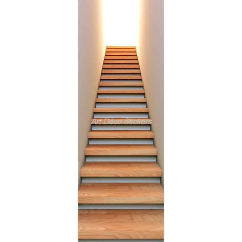 Affiche poster de porte trompe l 39 oeil mont e d 39 escalier for Stickers pour marche d escalier