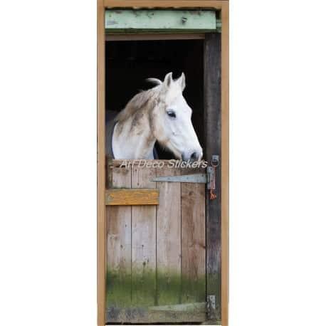 Affiche Poster De Porte Trompe Loeil Cheval Dans Son Box Art Déco - Porte box chevaux