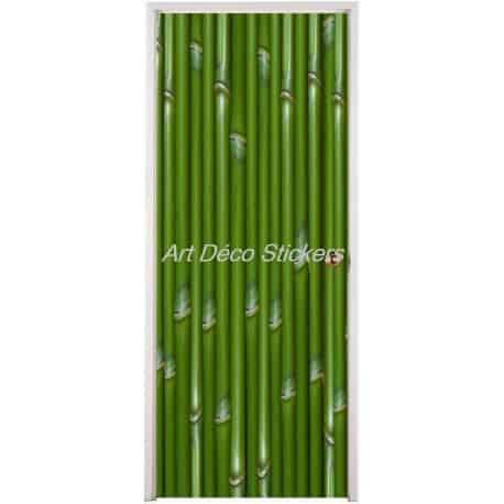 affiche poster de porte trompe l 39 oeil bambous art d co stickers. Black Bedroom Furniture Sets. Home Design Ideas