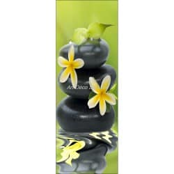 Affiche poster format porte trompe l'oeil Galets fleurs